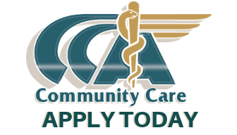 Community Care Ambulance Logo and Apply Today text