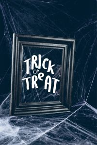 trick or treat scary picture frame with the word in it